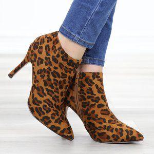 Vegan Suede Leopard Print Ankle Booties